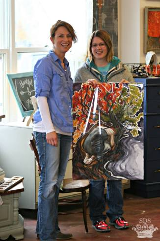 Meeting the new owner of my painting, Holy Ground, sold through Sincerely Danielle Shunk.