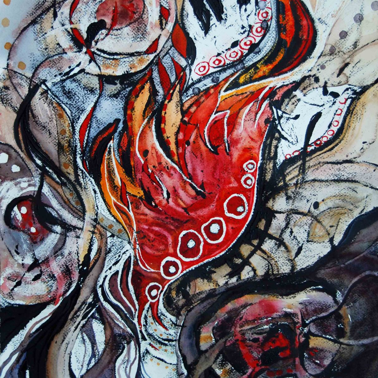 Out of Flames... Wings (series, #2); 2015; 19.5 x 15.5 ; mixed media: oil-based ink, acrylic, watercolor.