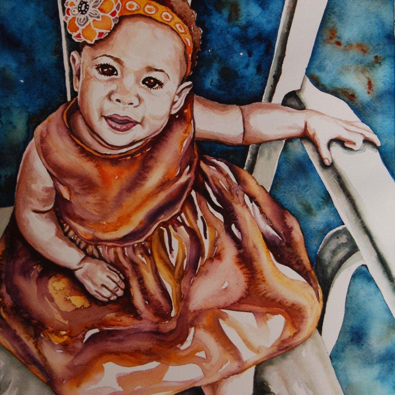 """Nani; 2016; 12"""" x 16""""; watercolor"""