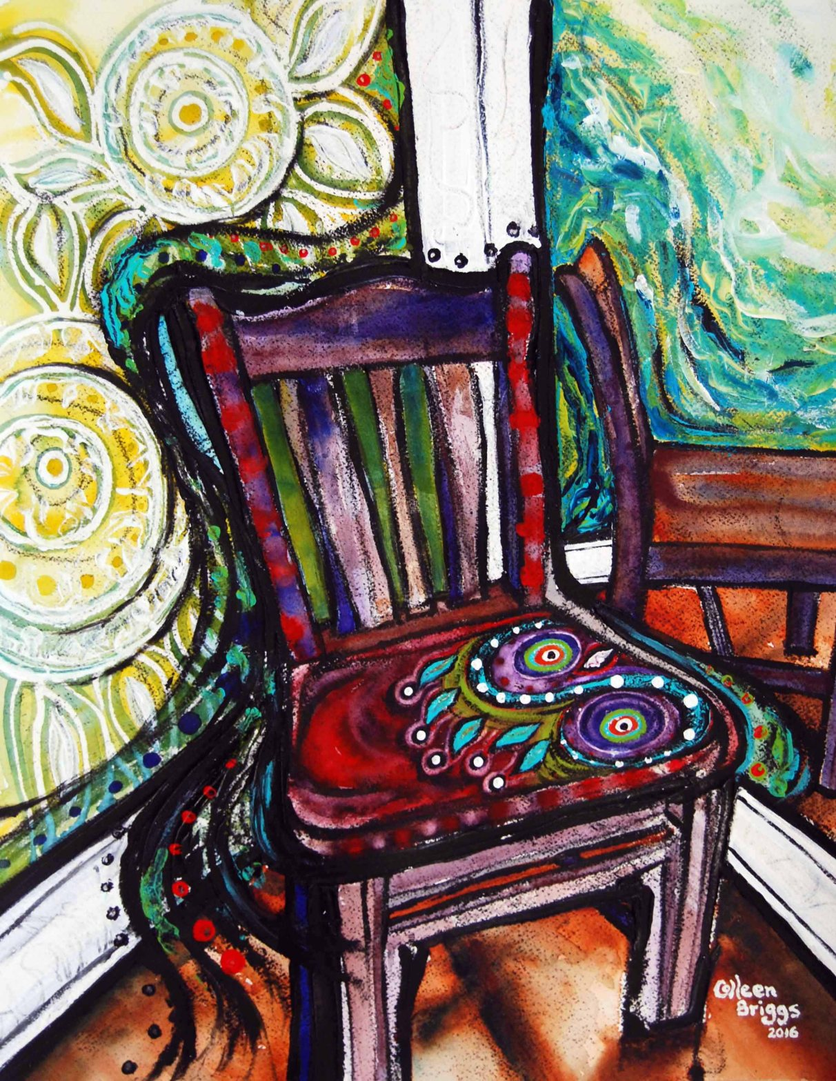 "Chair #2; 2016; 19"" x 15""; mixed media: oil-based ink, watercolor, acrylic."