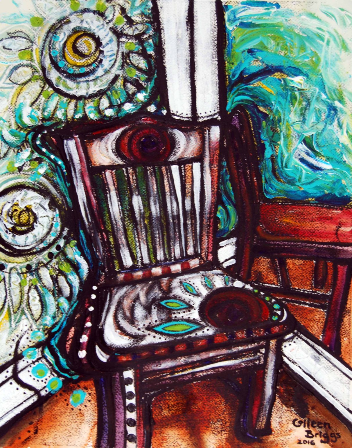 """Chair #4; 2016; 19"""" x 15""""; mixed media: oil-based ink, watercolor, acrylic."""