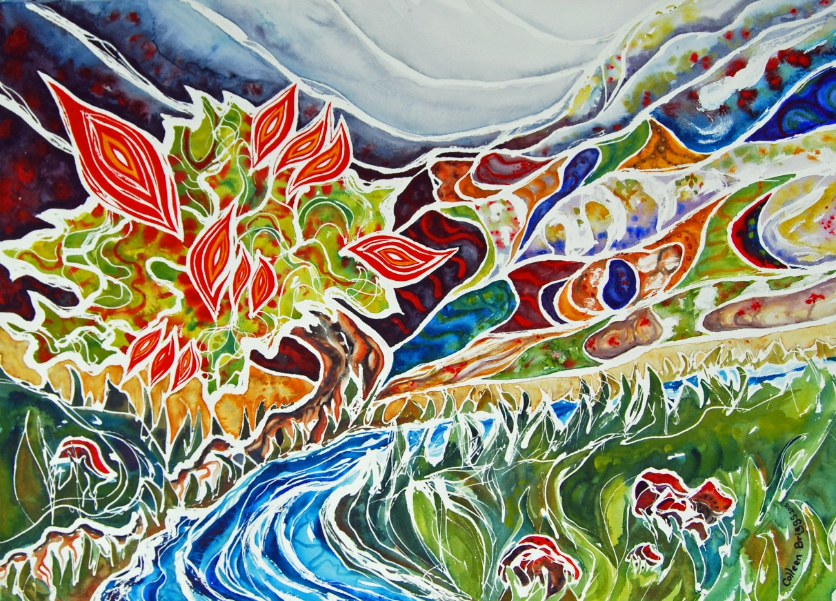 "A Tree Planted by Water; 2015; 21"" x 29""; watercolor (privately owned)"