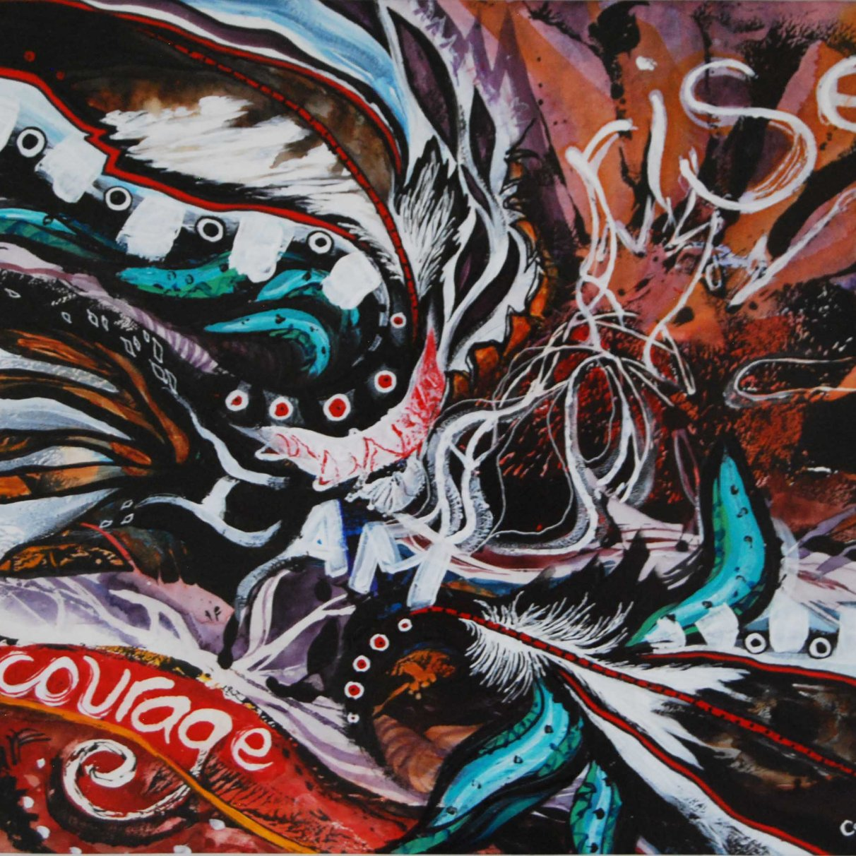 Courage Rises; 2014; mixed media: watercolor, acrylic, ink.