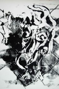 Henry the Star, one of three monoprints that developed into paintings