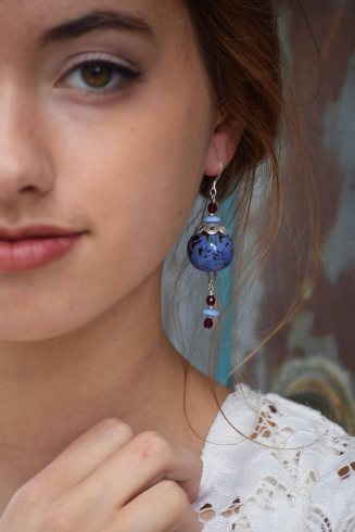 Kazuri earring, modeled by Brittin Lane of Nxt/Model