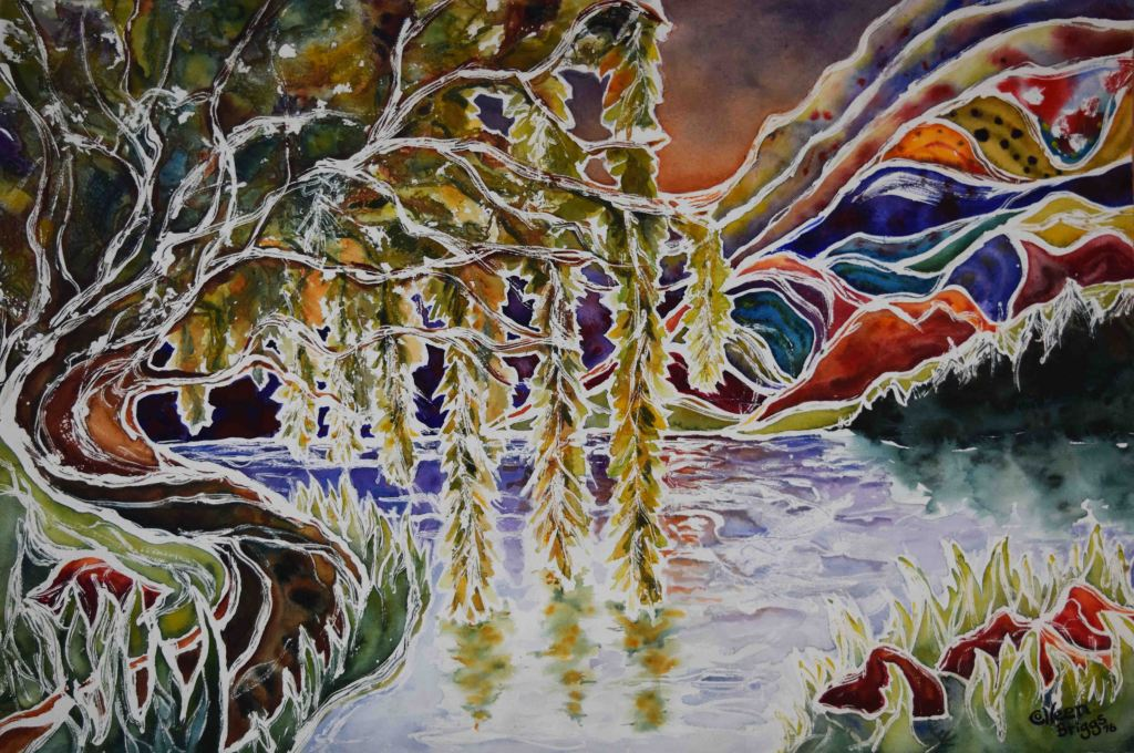 "The Willow Tree; 2016; 22"" x 30""; watercolor. Privately owned."