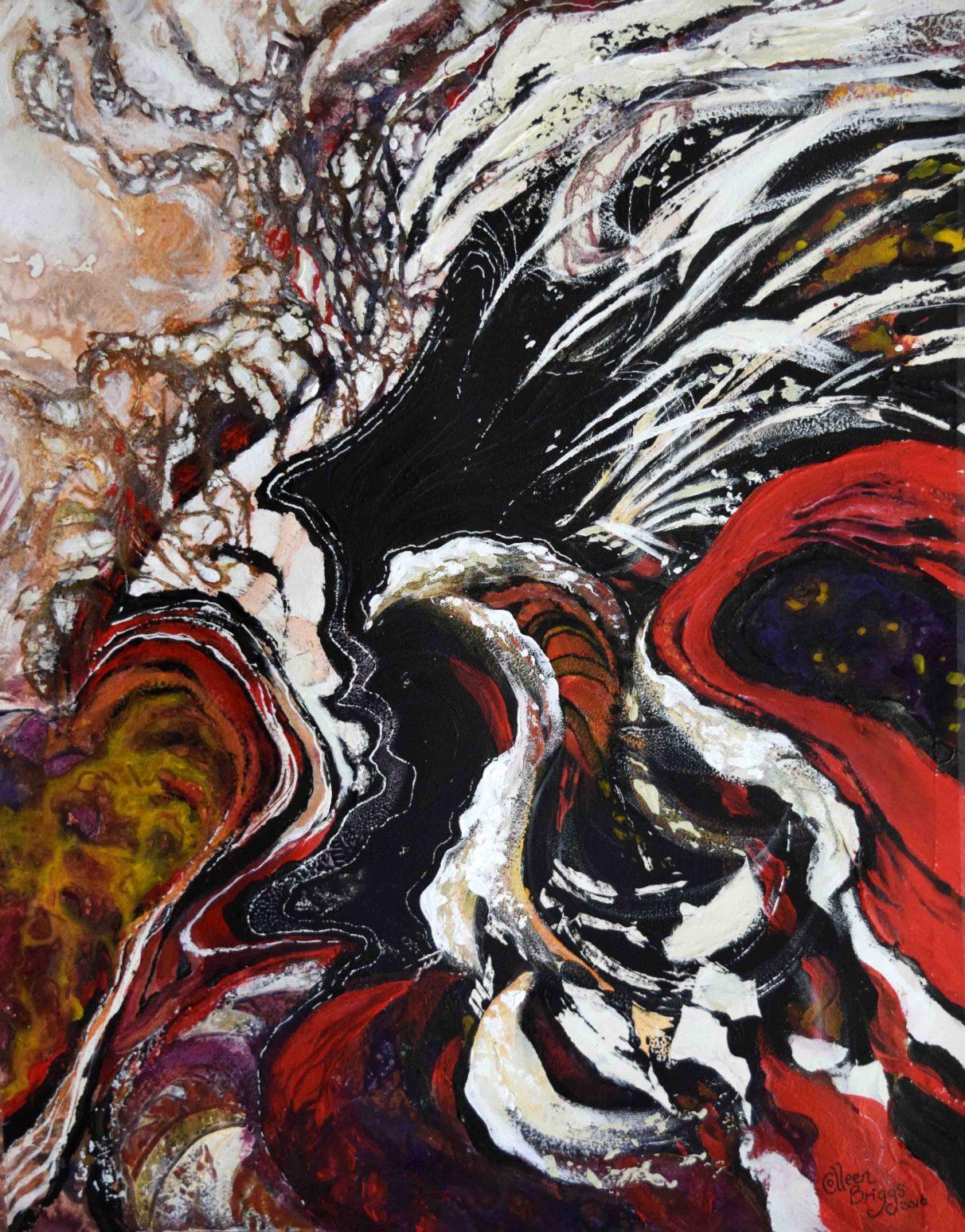 "Arise (1); 2016; 13"" x 17""; mixed media: ink, acrylic, watercolor."