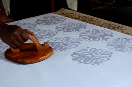 Wax stamp batik, in process: my own photo