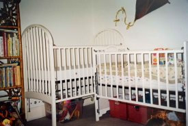 Jedd's crib waited next to Justin's in mid-January.