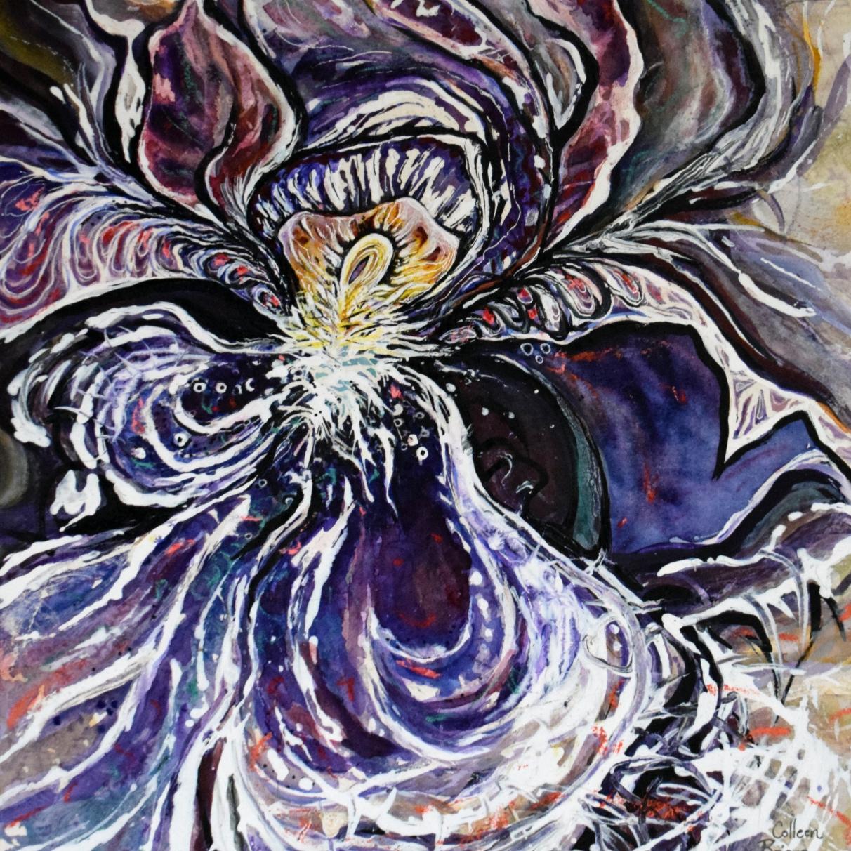 "Indigo Iris (4); 2021; 13"" x 16""; mixed media: ink, watercolor, chalk, acrylic."